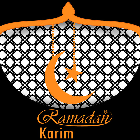 Ramadan greeting card design with moon ans star illustration.