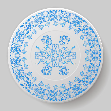 Decorative plate. Plate with blue ornament. Vector illustration.