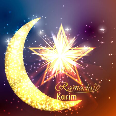 Ramadan greeting card design with moon and star illustration.