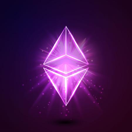 Ethereum blockchain platform sticker. Ethereum art icon logo. vector