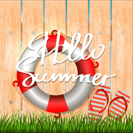 Summer background with inscription hello summer. Illustration