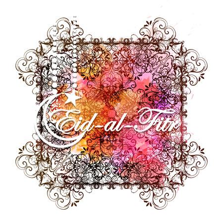 Eid-Al-Fitr mubarak greeting card.  Religious holiday celebrated by Muslims vector illustration.
