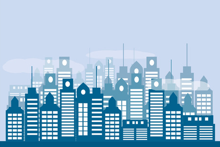 urban background flat style in blue tones. Vector