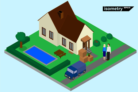 family chooses a house online through the Internet .isometry vector