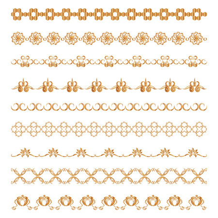 set of ornamental borders of gold color. Vector