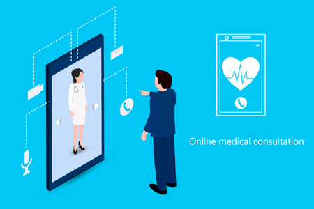 Man using a phone to meet with a doctor. Digital health concepts. Medical care online. Vector isometry
