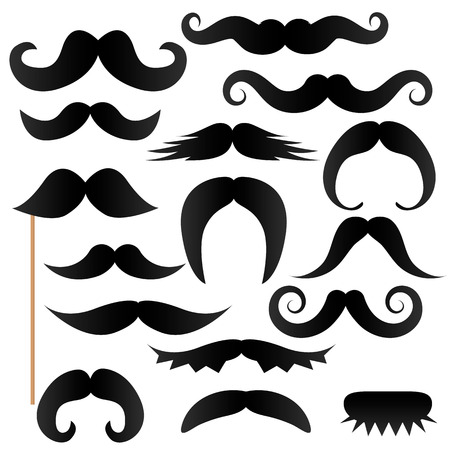 moustache stick, photo booth props. Vector