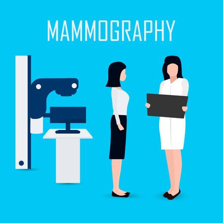 women getting a mammogram, flat style. Vector Çizim