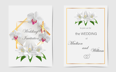 Wedding invitation with white lilies. Vector
