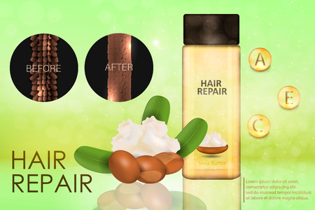 Hair conditioner with shea butter. Hair before and after using shea butter. Vector Иллюстрация