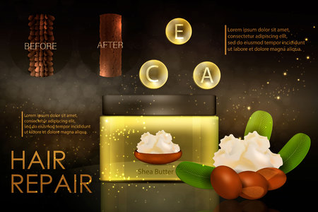 Hair conditioner with shea butter. Hair before and after using shea butter. Vector 向量圖像