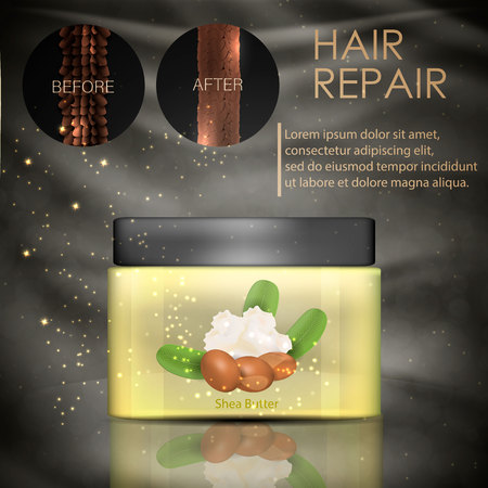 Hair conditioner with shea butter. Hair before and after using shea butter. Vector Vectores