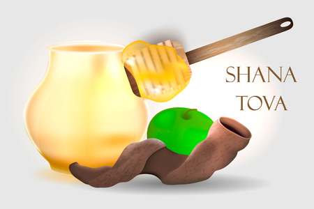 Jewish holiday Rosh Hashana banner design with honey and apples. Vector Illustration