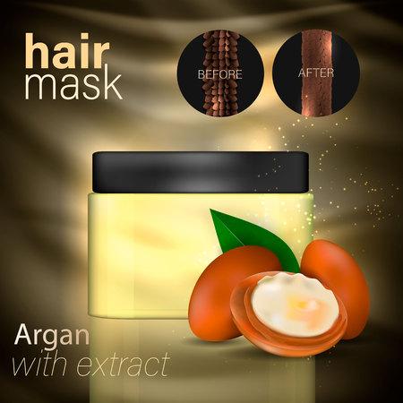 Argan oil for hair care. Vector