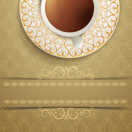 coffee on vintage background. Vector Illustration
