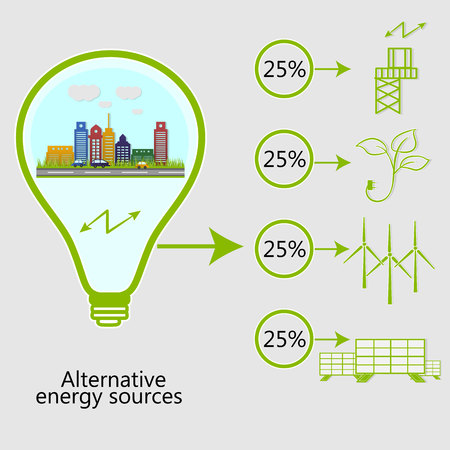 renewable energy. alternative energy sources. Ecological concept. Vector Ilustração