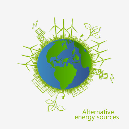 Ökologisches Konzept. erneuerbare Energie. Alternative Energiequellen. Vektor