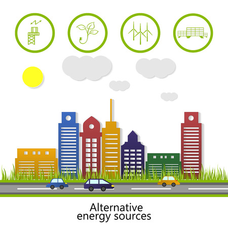 Ecological concept. renewable energy. alternative energy sources. Vector Ilustração