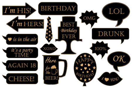 Photo booth props for birthdays. Vector Illustration