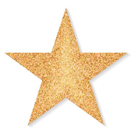 Estrella de purpurina dorada sobre un fondo blanco. Vector Ilustración de vector