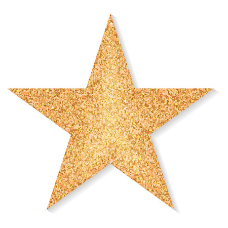 Star of gold glitter on a white background. Vector Stock Illustratie