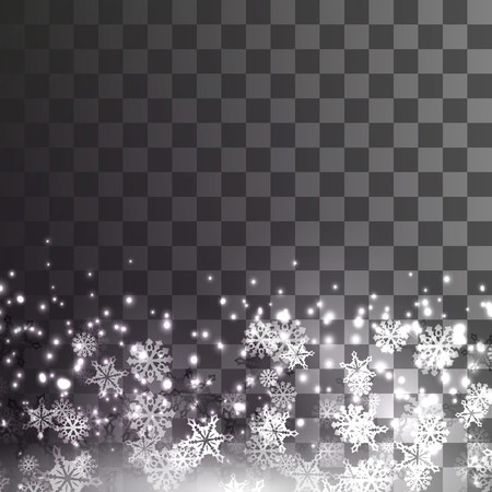 falling snow on a transparent background. Vecto illustration