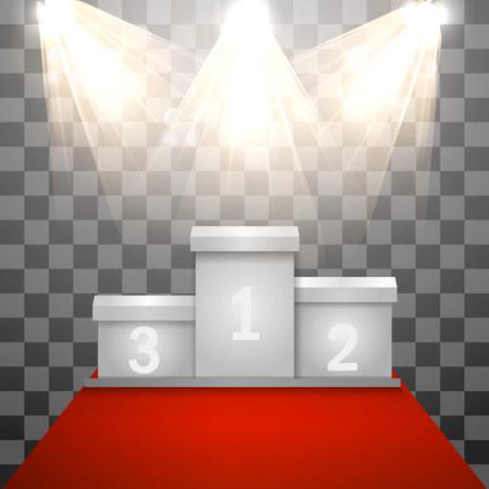 light rectangular podium on a transparent background. Pedestal. Spotlight. Vector illustration. Ilustração