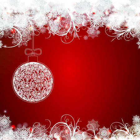 Red greeting card with christmas. Christmas background with place for text Ilustração