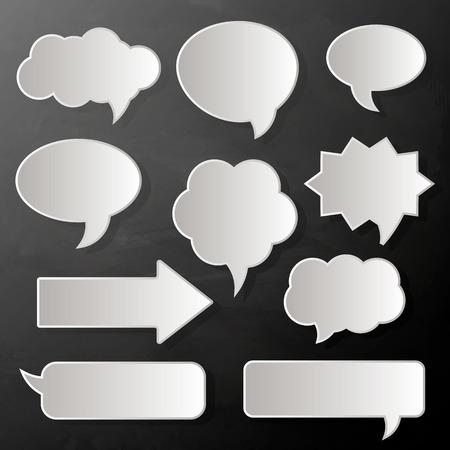 speech bubbles, paper white stickers, vector illustration. Ilustração