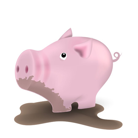 piggy in the mud, standing in a dirty puddle. Vector Illustration