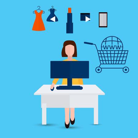 online shopping concept. Vector flat illustration Ilustração
