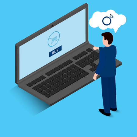 online shopping concept. Man wants to buy a ring. Vector flat illustration