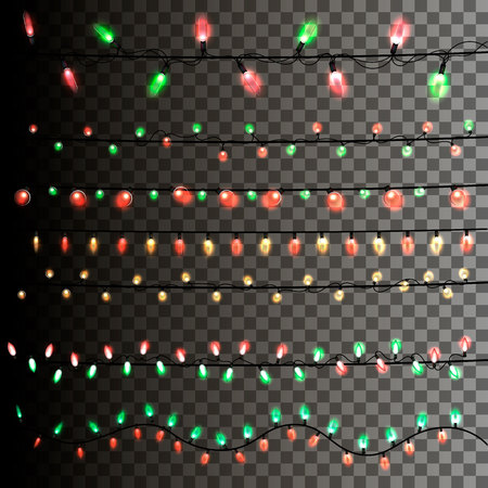 Christmas light garland on a transparent background. Vector Ilustração