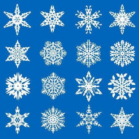 set of beautiful white snowflakes. Vector illustration