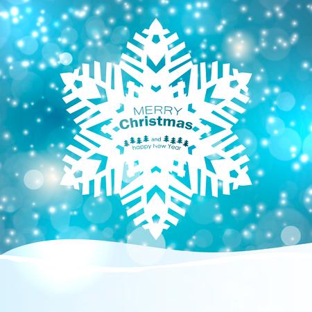 blue christmas background with snowflakes. Vector illustration Ilustração