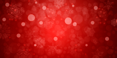 red christmas background with snowflakes. Vector illustration Ilustração