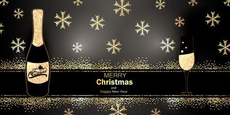 black christmas background with golden snowflakes. Vector illustration Ilustração