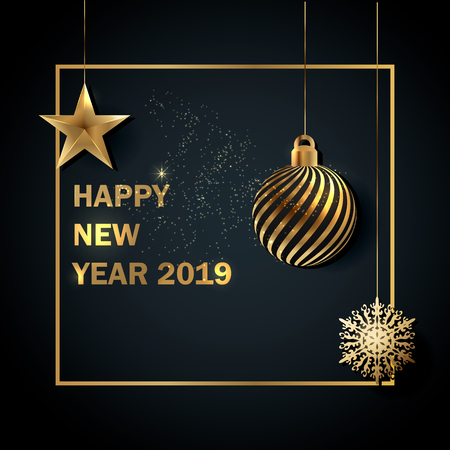 Happy New 2019 Year. Vector greeting illustration with golden christmas ball