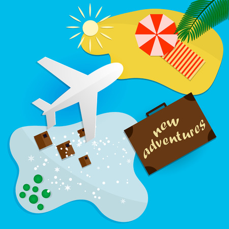 Trips to warm destinations for the holidays by plane. Vector illustration