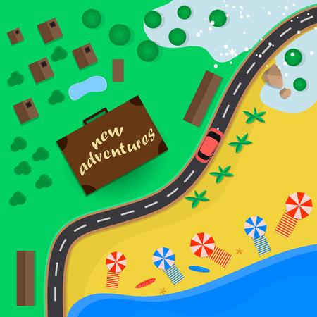 Trips to warm destinations for the holidays by car. Vector illustration Ilustração