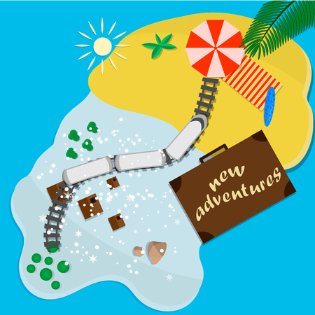 Trips to warm destinations for the holidays by train. Vector illustration