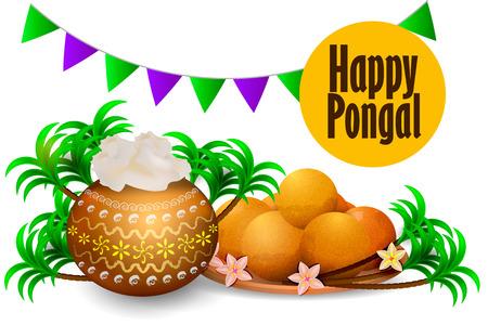 Happy Pongal Holiday illustration background. Vector illustraition Illustration