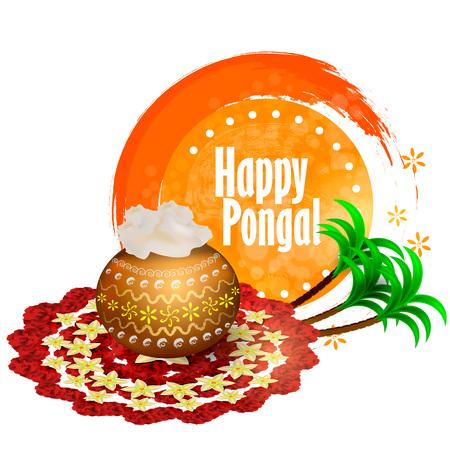 Happy Pongal Holiday illustration background. Vector illustraition Ilustração