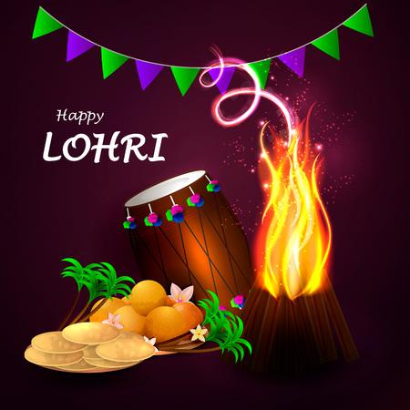 llustration of Happy Lohri holiday background for Punjabi festival