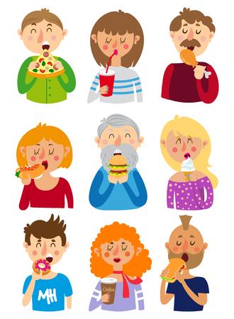 woman eating: Set of colorful cartoon. People eat fast food
