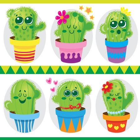 cute: Cute cactus in pots.Vector illustration of cute green cactus in pots