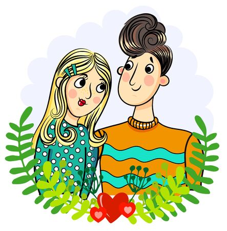 young girl: Illustration with young couple. Boy and girl Illustration