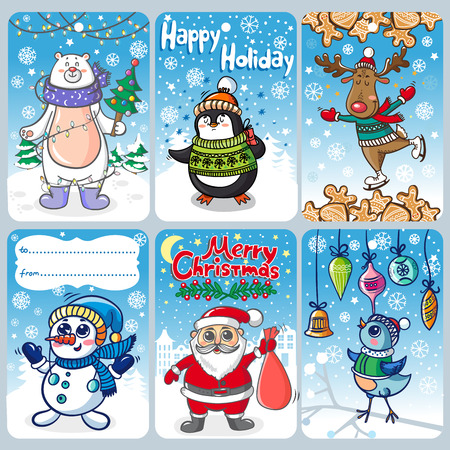 personages: Christmas cards with funny personages Illustration