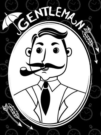 englishman: Funny illustration with Elegant gentleman