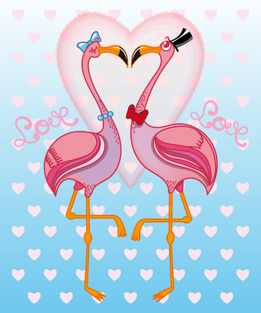 Illustration with two pink flamingos